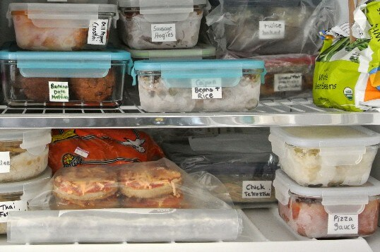 Inside my freezer showing ways I use in Preparing Food for the Freezer.