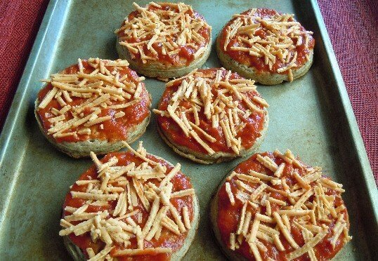 Preparing Food for the Freezer with Pizza Crumpets ready to slide in the freezer.
