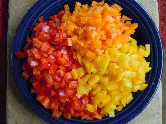 A plateful of beautiful peppers prepared for the Bell Pepper Bruschetta.