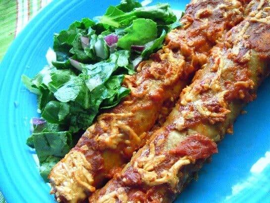 Gringo Enchiladas with flour tortillas