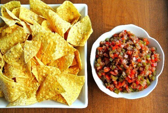 Bell Pepper Bruschetta Dip and Chips