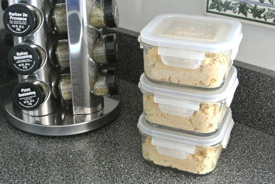 Chunky Chickpea Dip ready for the freezer