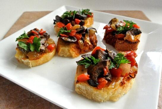 Mushroom Bruschetta Crostini Recipe | Vegan in the Freezer
