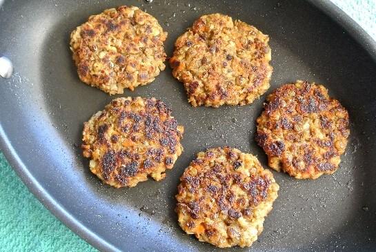 Lentil Burger Sliders frying