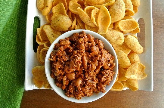Chalupa Dip made with 'soyrizo' wonderful spices and whole pinto beans.
