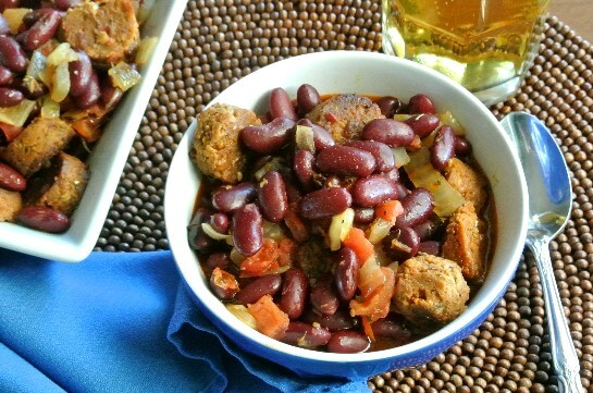 Mexican Cassoulet Serving with Beer