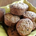 Irish Oatmeal Chocolate Chip Muffins in a bowl