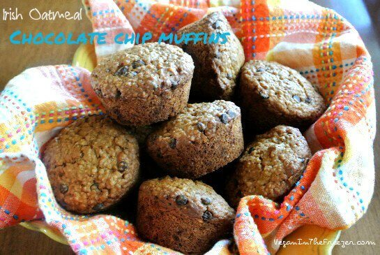 Irish Oatmeal Chocolate Chip Muffins on the table Words