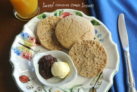 Sweet Coconut Cream Scones Jam and Butter Word