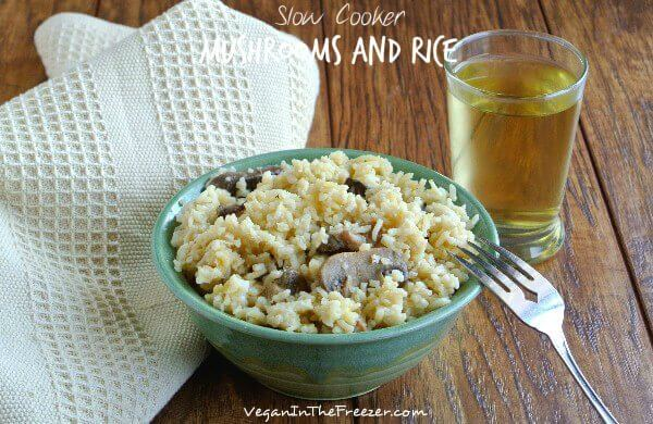 Healthy Slow Cooker Mushrooms and Rice Served Words