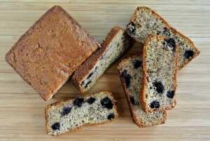 Blueberry banana Bread loaf overhead