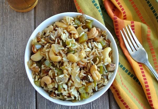 Cashew Rice Bowl Overhead