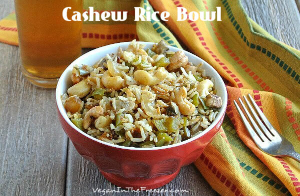 Cashew Rice Bowl has an Asian Flare that satisfies your comfort food craving. Square photo with wm.