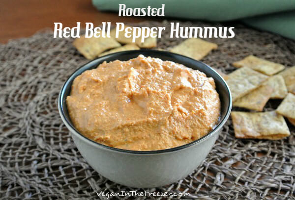 Everybody loves Roasted Red Bell Pepper Hummus. Yes, the guys too. Chickpeas and red bells make a flavorful, simple dip that goes with chips or vegetables.