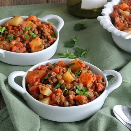 Lentil, Carrot and Potato Hash uses pre-cooked lentils, then everything else is done in one skillet.