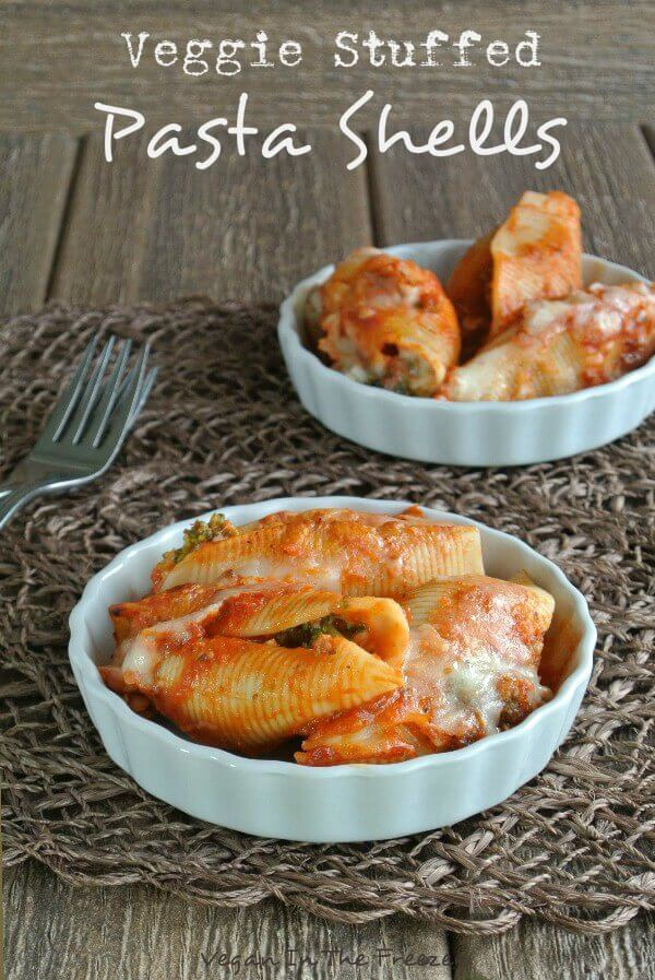 Veggie Stuffed Pasta Shells are flavorful, warm and satisfying. Stuffed with sauce, 'sausage' crumbled into small pieces and little florettes of broccoli.