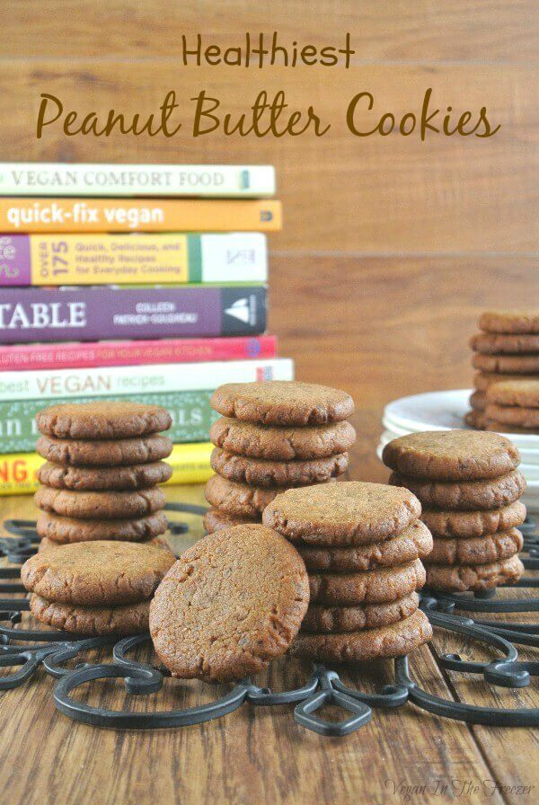 Healthiest Peanut Butter Cookies are sweet, crunchy and delicious. This classic is turned up a notch with a little chocolate too.