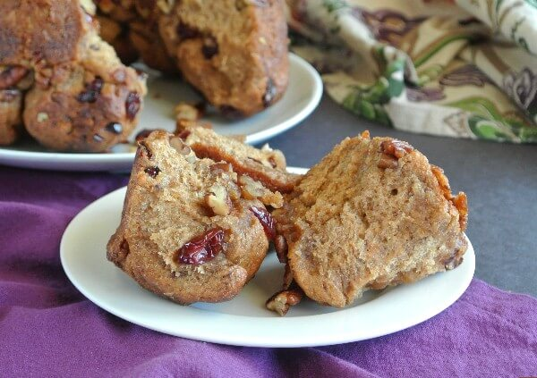 Have some fun! Healthy Date Monkey Bread has bran cereal, dates and pecans with a drizzling of maple syrup all over the top. So friggin' good.