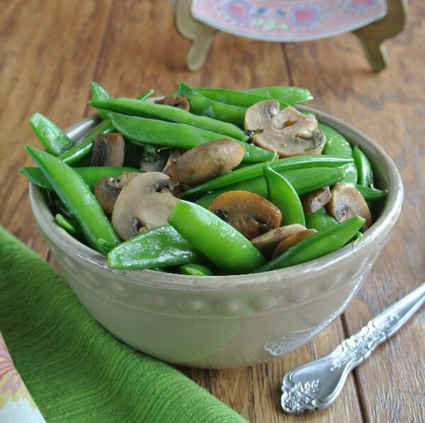 Sugar Snap Peas with Mint and Mushrooms can be a special brunch or treat on any day of the week. Equally good fresh or cooked which makes them doubly enticing.