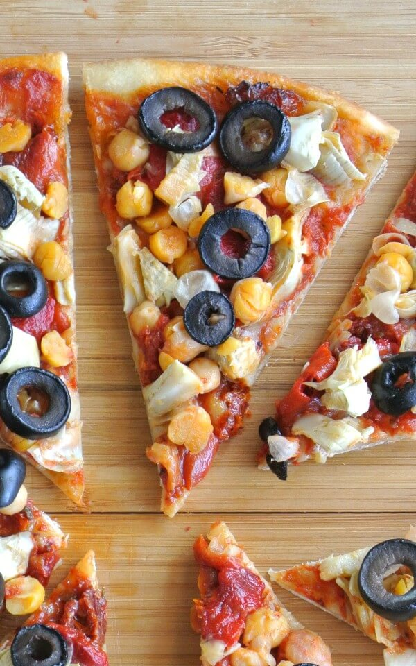 Antipasto Pizza is yet another way to enjoy an all time favorite. Five toppings contrast perfectly - from the mild chickpea to the rich sun dried tomato.