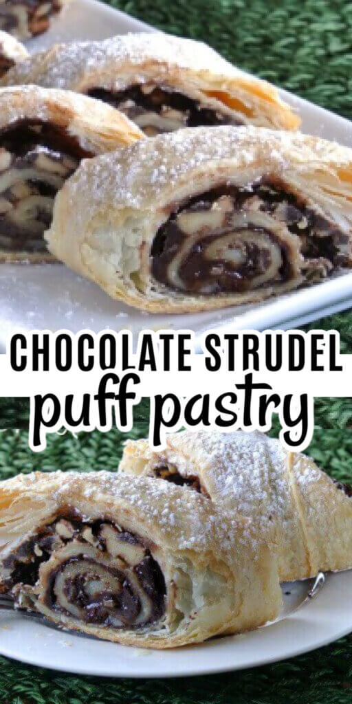 Two photos one above the other with rolled stuffed puff pastry showing chocolate and walnuts inside of each slice.