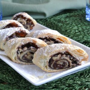 Mothers Chocolate Strudel only has 4 ingredients and it comes together in about 15 minutes. She will love it and needless to say everyone else will too.