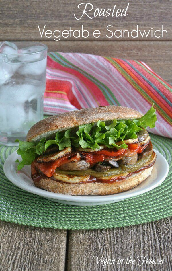 Roasted Vegetable Sandwich has two kinds of roasted peppers, fried sweet potatoes, sauteed mushrooms and more. Italian style sandwich with a vinaigrette.