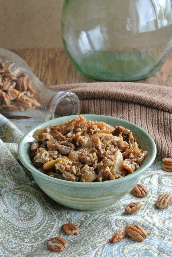 Slow Cooker Apples and Oats is apples with cinnamon and coconut sugar. Yes, and oats and pecans. Where everything is cooked together with accents of flavor.