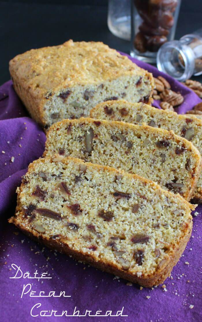 Date Pecan Cornbread is so simple - it starts with a packaged mix and you add dates and pecans. Healthy enough for breakfast and sweet enough for a snack.