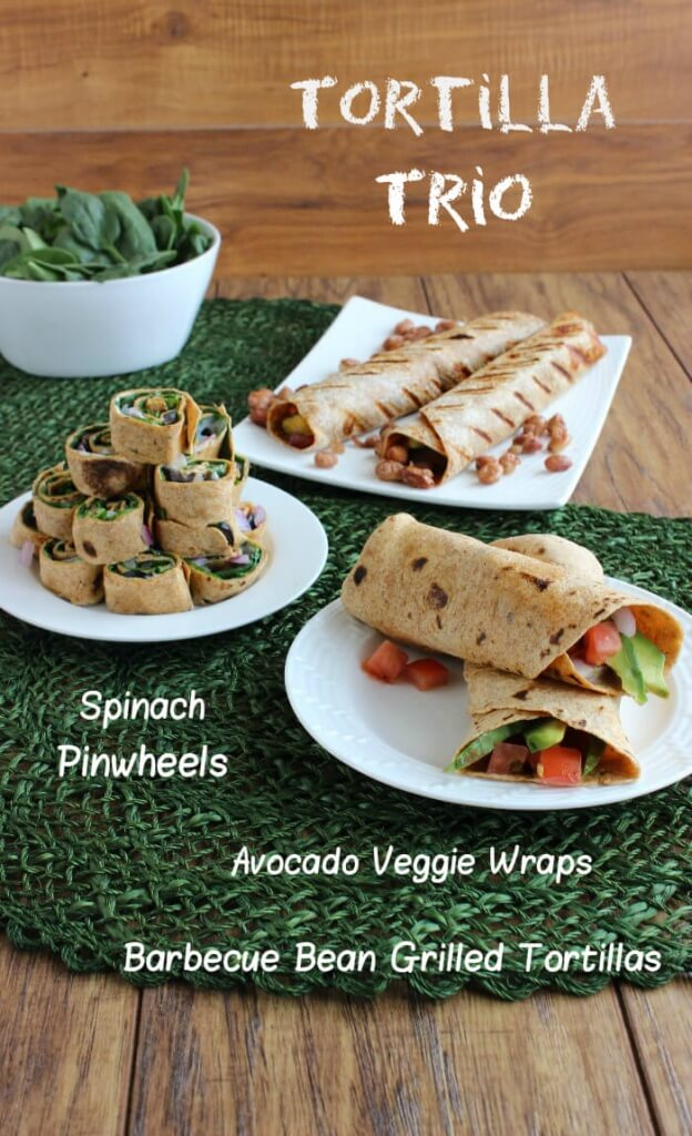 Grilled Wrap Tortilla Trio becomes a dinner for 6 and under $20. Spinach Pinwheels, Avocado Veggie Wraps & Barbecue Bean Grilled Tortillas are fantastic!