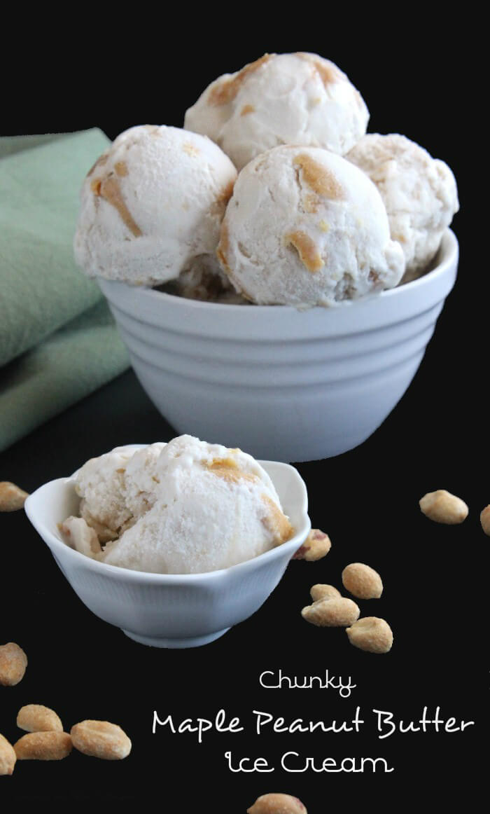 Chunky Maple Peanut Butter Ice Cream is a frozen dessert bonanza with lots of chunks and swirls. Made from scratch and very simple - from start to finish.`