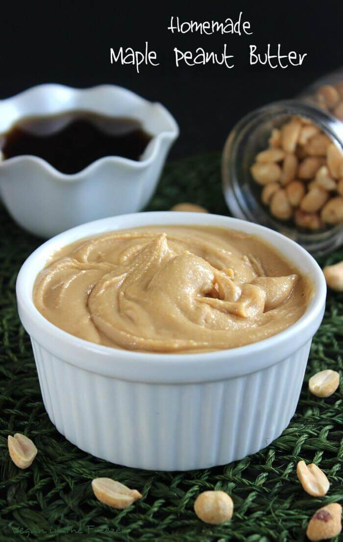 Homemade Maple Peanut Butter only takes minutes to make and it is ridiculously easy - from veganinthefreezer.com