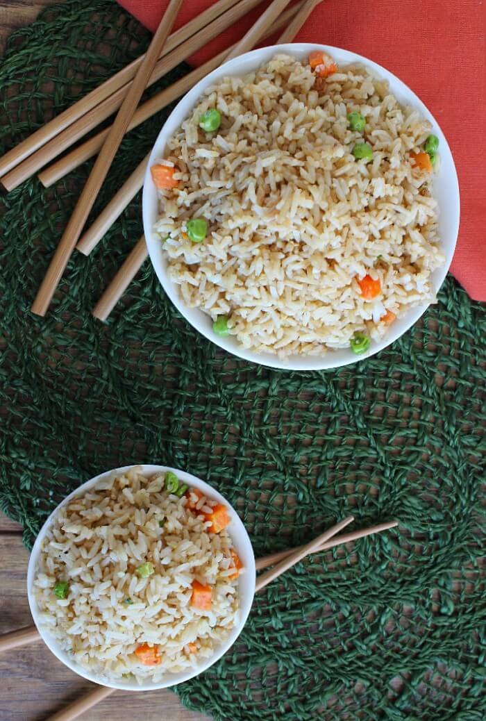 Panda Express Copycat Fried Rice Overhead Photo | Vegan in the Freezer