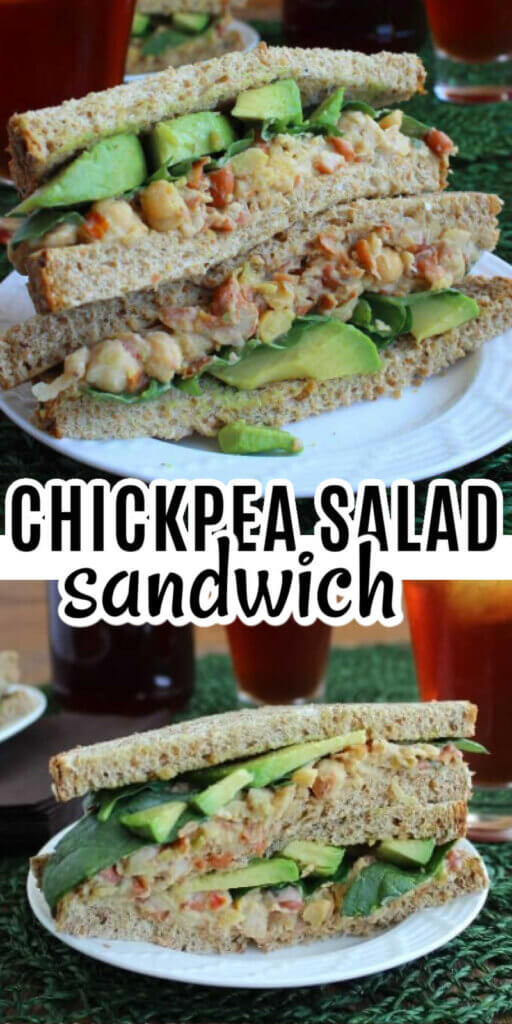 Two photos one above the other with two halves of a chickpea salad sandwich layered with chickpea salad and avocado slices.