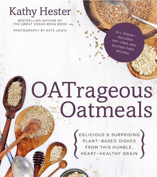 Cookbook cover for Oatrageous Oatmeals with spoon varieties holding different looking oats.