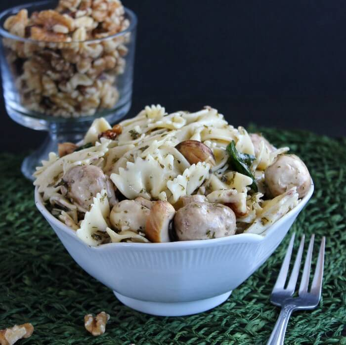 Company Worthy Bowtie Pasta Salad is all prettied up with a little extra veggies and spices. The dressing blends perfectly and melds the salad all together.
