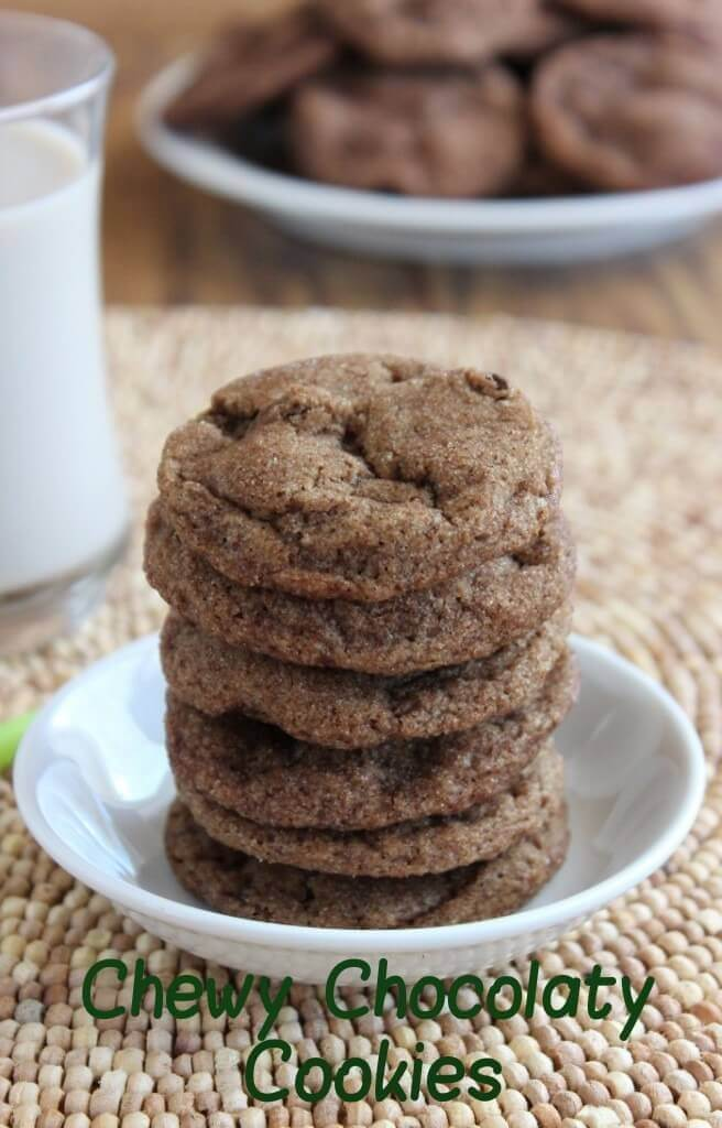 double chocolate chip cookie recipe cookies are stacked in a small white bowl with green title below.