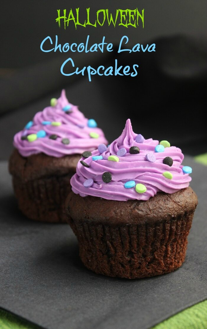 Halloween Chocolate Lava Cupcakes are dressed up for October. There is a creamy rich chocolate center that stays like that all the way to the last bite.