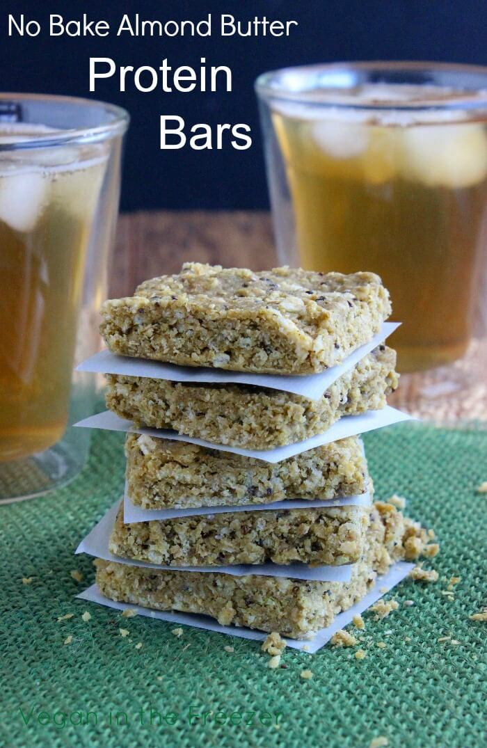 Almond Butter Protein Bars are quick and perfect for anytime of the day.   The ingredients are simple and varied for all around flavor.