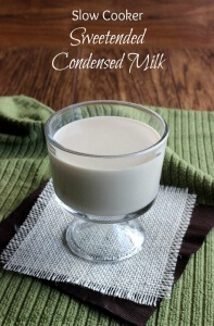 Slow Cooker Sweetened Condensed Milk is as easy as it sounds. Excellent in all baking goods calling for the traditional thick rich sweetener.