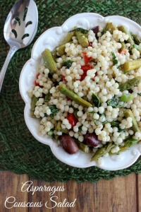 Asparagus Couscous Salad has an array of veggies & flavors that will make you think gourmet. It livens up your day at lunch or as a side at a gathering.