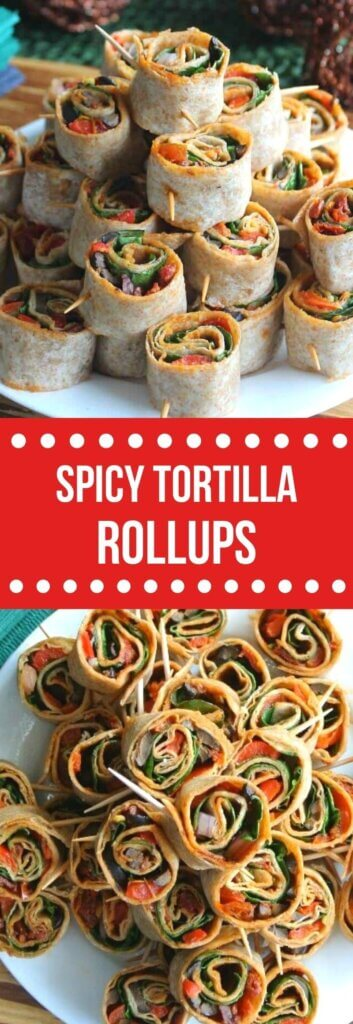 Two photos one above the other with a pyramid of tortilla rollups and text in the center on red for pinning.