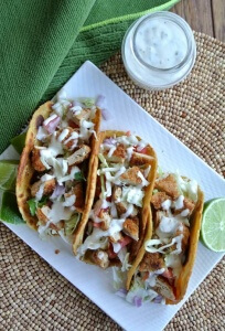 Crispy Tenders Chickenless Tacos are a twist on the famous taco founded on the coast of Southern California. Sooo easy to make - just minutes. Photo