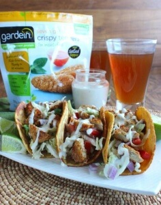Crispy Tenders Chickenless Tacos are a twist on the famous taco founded on the coast of Southern California. Sooo easy to make - just minutes. gardein