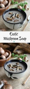 Two photos showcasing Wild Mushroom Soup.