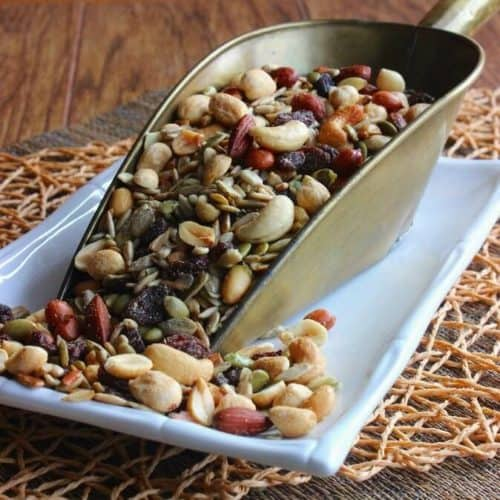 Sweet and Salty Arizona Trail Mix is an abundant variety of nuts and seeds. Snack, exercise and road trip ready it will keep you going for a long time.
