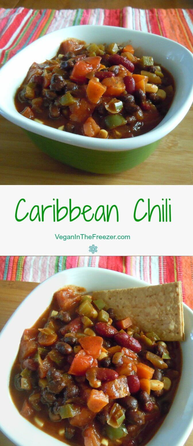 Caribbean Chili is spicy with a hint of sweetness. This recipe can be served all year because of it's warmth in the winter and it has a summer festive vibe.