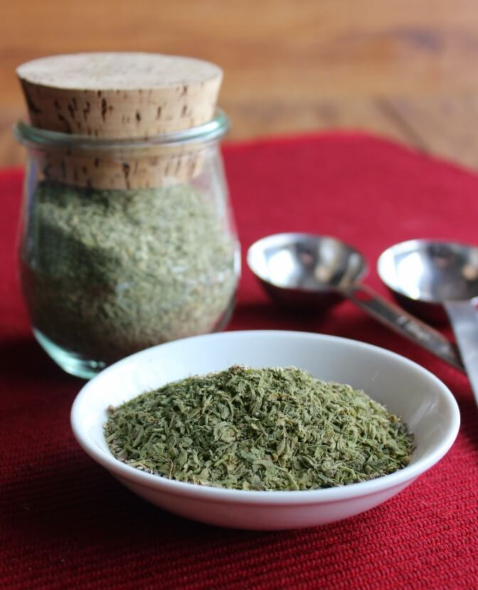 Italian seasoning adds so much to a sauce or casserole. You probably have all of the herbs in your cupboard. A little measuring and you are done.