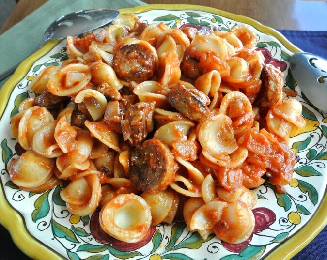 Vegan Sausage Ragu is perfect with Orecchiette Pasta.