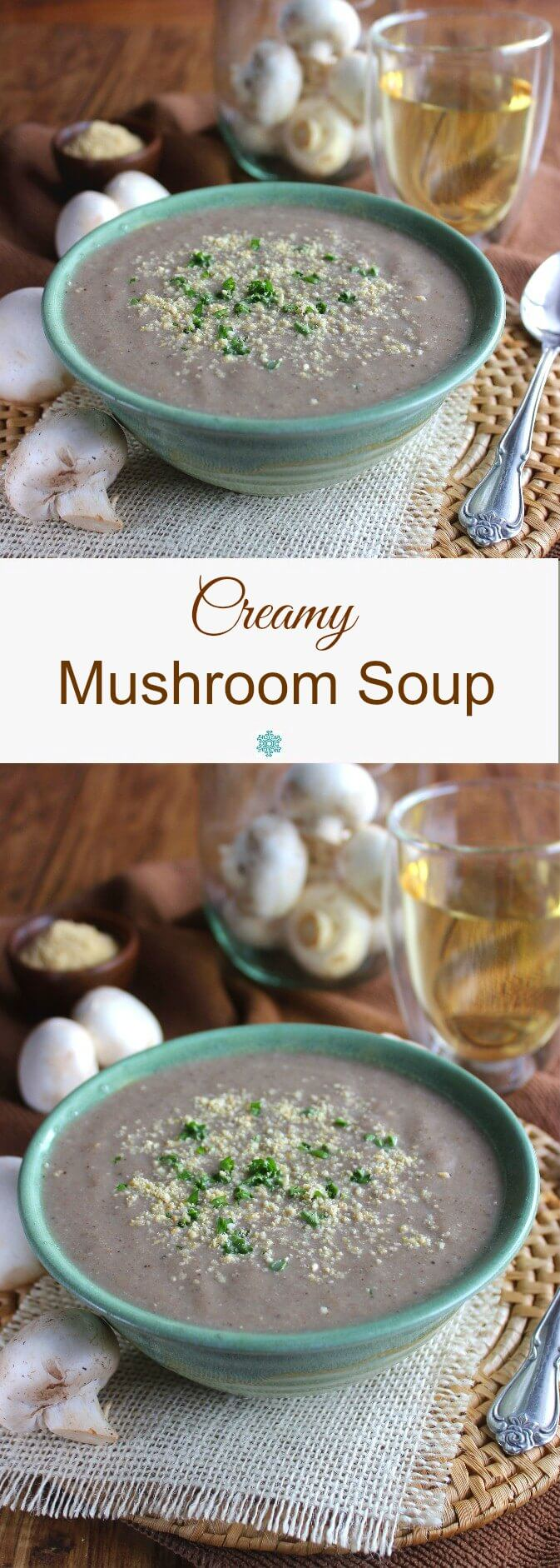 Creamy Mushroom Soup is a combo of little white button mushrooms and ...